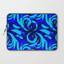 Repeating pattern of blue and azure petals of cornflowers and daisies. Laptop Sleeve