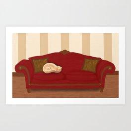 Sofa Kitty Art Print