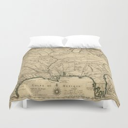 Map of America from Rio Grande River to Hudson River (1718) Duvet Cover