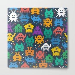 Pixelated monster pattern Metal Print