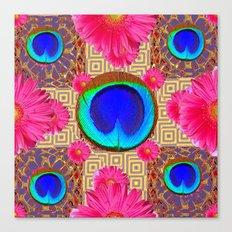 Cobalt blue & fuchsia pink Gerber flower Patterns Art Canvas Print
