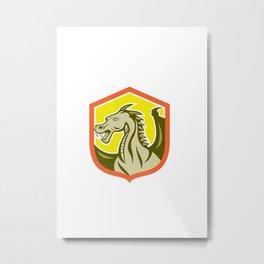 Green Dragon Head Shield Cartoon Metal Print
