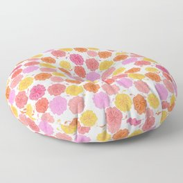 Hibiscus Hawaiian Flowers in Pinks and Corals on White Floor Pillow