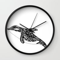 orca Wall Clocks featuring Orca by Kate Shea