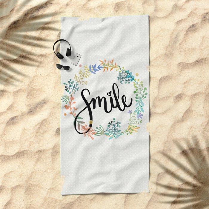 Smile, Watercolor Flowers Beach Towel