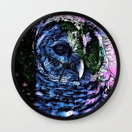 Rainbow Barred Owl Wall Clock