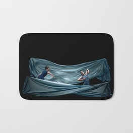 Dancing in rough blue waters Bath Mat