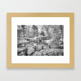 Mabry Mill - Blue Ridge Parkway - Dan Virginia - Black and White Framed Art Print