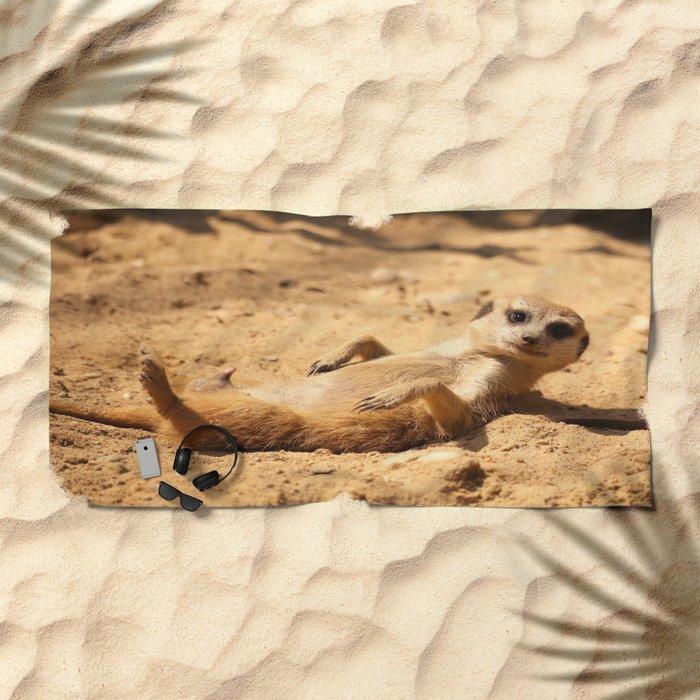 Meerkat Suricat suricatta Sunbathing #decor #society6 Beach Towel