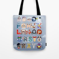 pixar Tote Bags featuring P is for Pixar (Pixar Alphabet) by Mike Boon