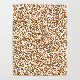 Tiny Spots - White and Brown Poster