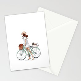 Fashionista with Bike and Dog Stationery Cards