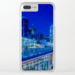 Seattle Pikes Market Waterfront in Blue Clear iPhone Case