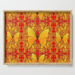 GOLDEN YELLOW BUTTERFLIES RED PATTERN ABSTRACT Serving Tray