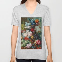 Fruit and Flowers in a Terracotta Vase by Jan van Os Unisex V-Neck