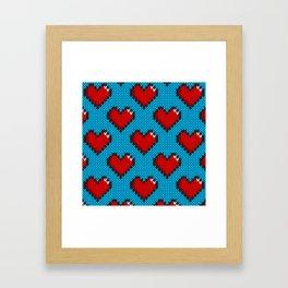 Knitted heart pattern - blue Framed Art Print