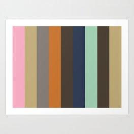 NEGOTIATE : N(adeshiko Pink) E(cru) G(rey) O(chre) T(aupe) I(ndigo) A(quamarine) T(aupe) E(cru). Art Print