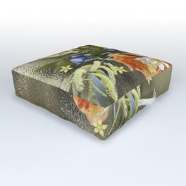 Beautiful flower bouquet on shimmering gold Outdoor Floor Cushion