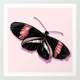 Papillon rouge et noir Art Print