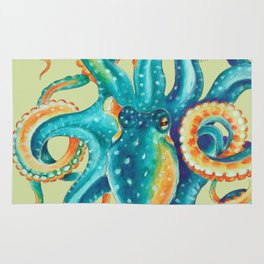 Octopus Teal Tentacles On Yellow Green Rug