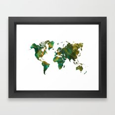 world map green world Framed Art Print