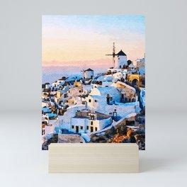 Morning at Santorini Watercolor Art Mini Art Print