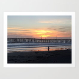 Cayucos Pier Sunset Art Print