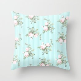 Shabby chic roses pink and mint Throw Pillow