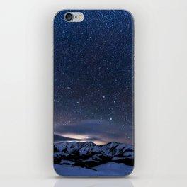 Starry Night Sky Winter Mountain iPhone Skin