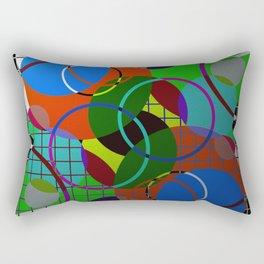 Caged Geometry - Abstract, metallic, geometric, rainbow coloured circles Rectangular Pillow