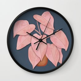 Big Pink Leafy Houseplant Wall Clock