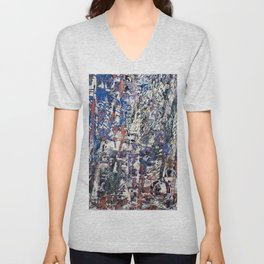 Inclement Weather (Gray and Blue Abstract Marks) Unisex V-Neck