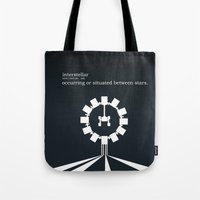 interstellar Tote Bags featuring Interstellar by Duck