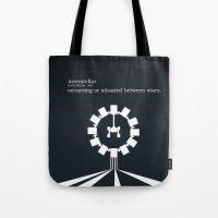 interstellar Tote Bags featuring Interstellar by Duck Cartel