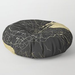 Dublin Ireland Black on Gold Street Map Floor Pillow