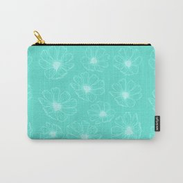 Cosmos Flowers (turquoise version) Carry-All Pouch