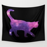 space cat Wall Tapestries featuring SPACE CAT by Caio Trindade