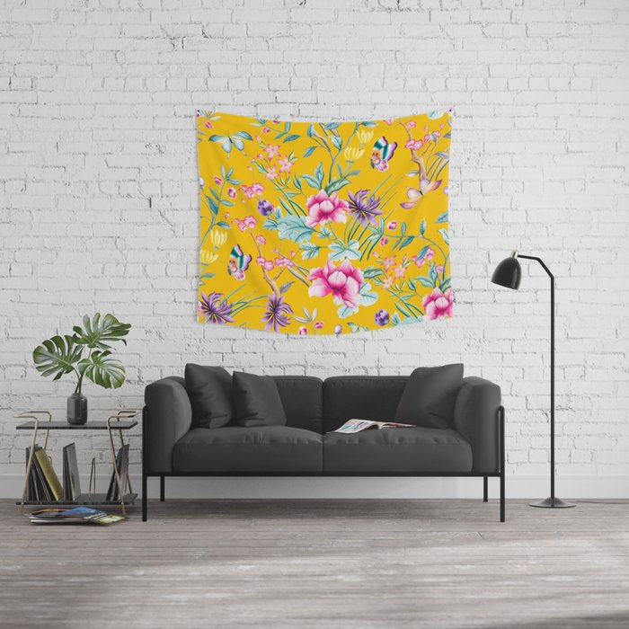 Chinoiserie mustard yellow floral Wall Tapestry by peggieprints ...