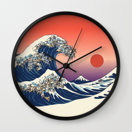 The Great Wave of English Bulldog Wall Clock