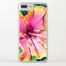 Tropical Bliss Hibiscus Clear iPhone Case