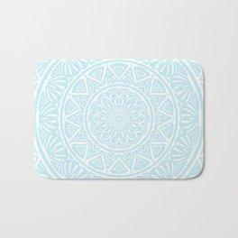 Light Sky Blue Aqua Simple Simplistic Mandala Design Ethnic Tribal Pattern Bath Mat