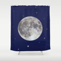 zodiac Shower Curtains featuring zodiac moon by My Studio