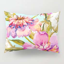 Flowery nature and golden butterfly Pillow Sham