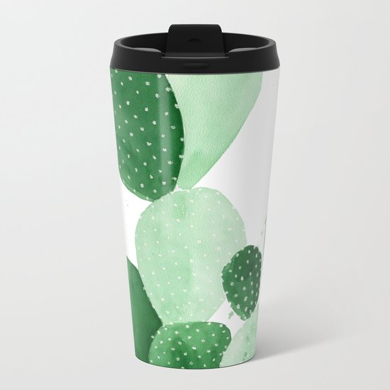 Green Paddle Cactus II Metal Travel Mug