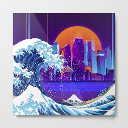 Synthwave Space: The Great Wave off Kanagawa #5 Metal Print