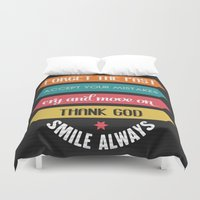 quotes Duvet Covers featuring life quotes by Claudia balasoiu