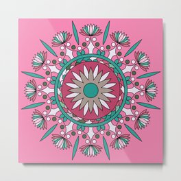 Mandala No2, Colorful Abstract Flower Metal Print