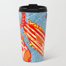 Ocean and Fish - Linocut Travel Mug