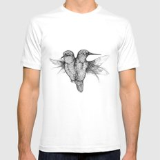 Conjoined Hummingbirds White Mens Fitted Tee MEDIUM