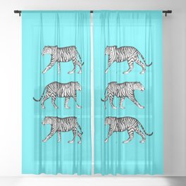 Tigers (Blue and White) Sheer Curtain